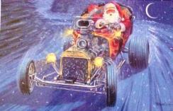 Papai Noel ao volante de um hotrod dirigindo na neve, ilustração