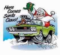 """Papai Noel endiabrado em caricatura de um Dodge Challenger com motor saindo pelo capô e segurando alavanca de câmbio """"pistol grip"""""""