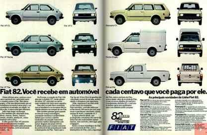 Propaganda da FIAT, com sua linha 1982, indicando a diferença ente o 147C e o 147 Top (Site Design Innova)