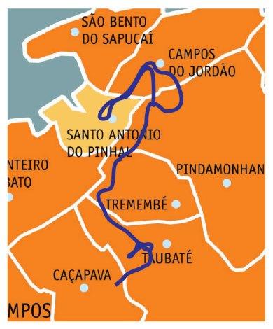 Mapa simplificado do percurso de 2017 mostrando por onde passamos (Fonte: Paulo Animau)