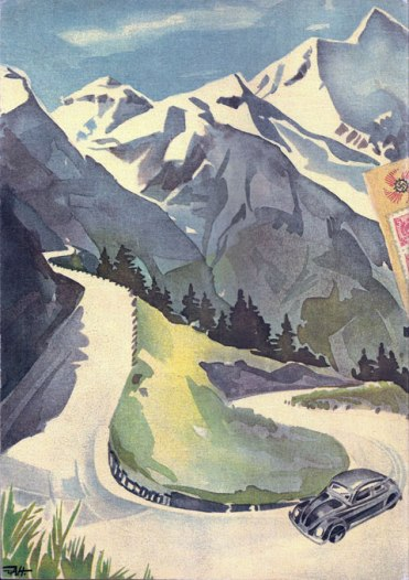 """Capa traseira da brochura """"Dein KdF Wagen"""" com um Fusca de época (1939) na estrada do Großglockner"""