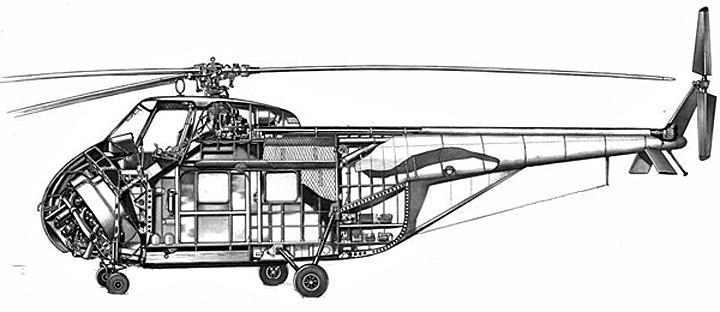 Motor radial de 9 cilindros na frente, árvore de transmissão inclinada em direção ao rotor (Sikorsky Archives)