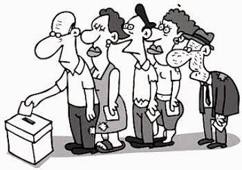 Resultado de imagen para gente votando en caricatura