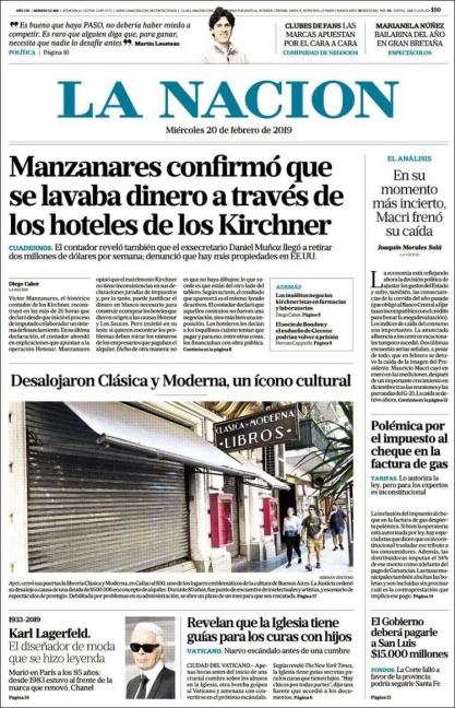 Resultado de imagen para tapas de La Nación sobre hotesur