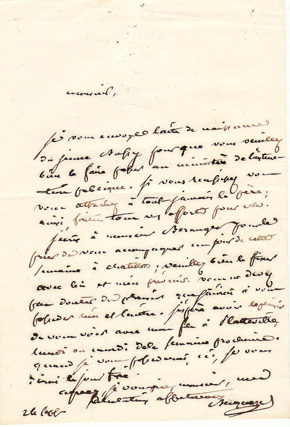 becquerel antoine ensemble de 5 lettres autographes