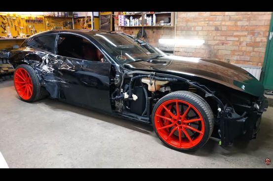 Η τραυματισμένη Ferrari GTC4 Lusso έγινε «κουτί» (βίντεο)