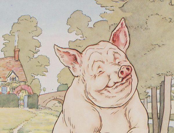 Glückliches Schwein im Cartoon als Synonym für Tierwohl