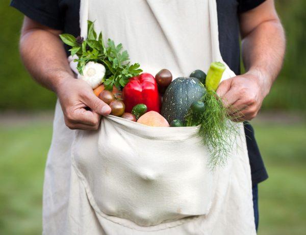 Ein Man hält in seiner Schürze Gemüse, das Lektine enthält.
