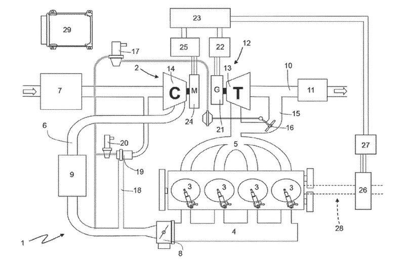 Ferrari Vier Zylinder Patent_Zeichnung