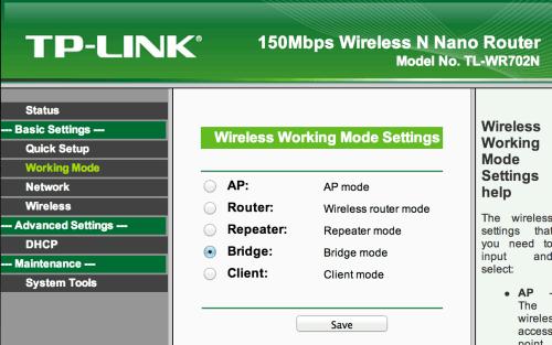 TL-WR702N Web Interface Screen Shot