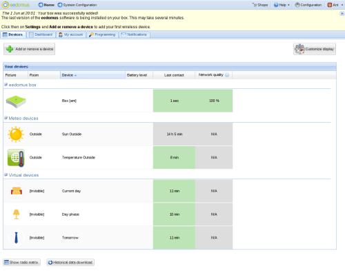 eedomus Configuration Screen