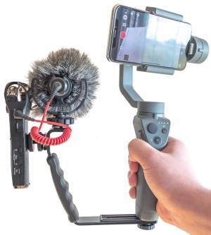 DJI Osmo Mobile 2 with L Bracket Zoom Recorder and Rode Microphone