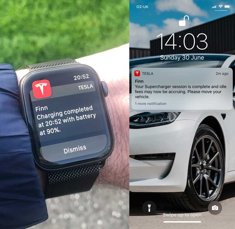 Tesla Model 3 Notifications
