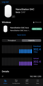 Ubiquiti NanoStation bandwidth test