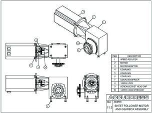 Sheet Follower Motor and Gearbox Assembly (Optional)