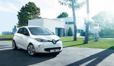La Renault ZOE blanche de 3/4 avant