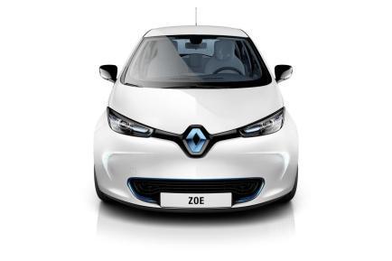 L'avant de la Renault ZOE en blanc nacré