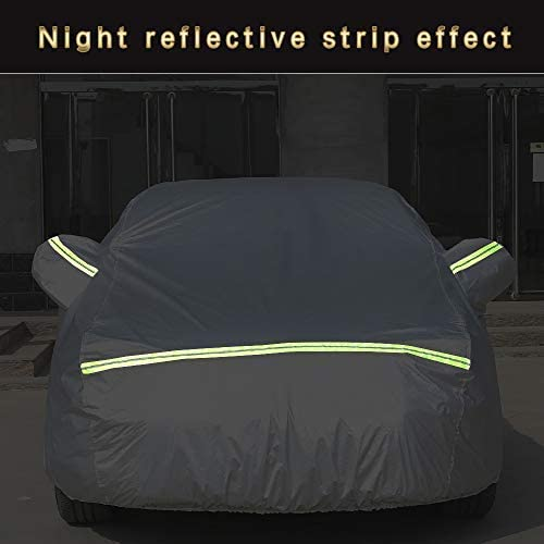 AOYMEI Full Car Cover Waterproof All Weather, Automobile Cover Sunproof Rainproof Windproof Scratch Resistant Reflective Strips Cotton Inside (Sedan, fit Length (196''-208''))