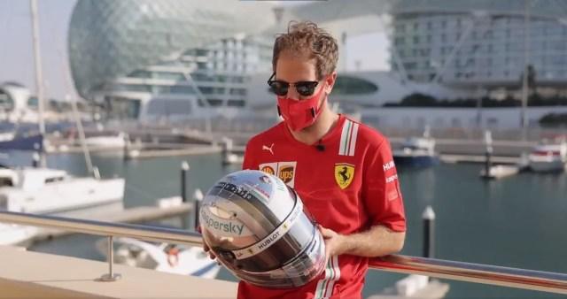 Russel, Grosjean, Albon e Vettel rivelano i loro nuovi caschi per Abu Dhabi.