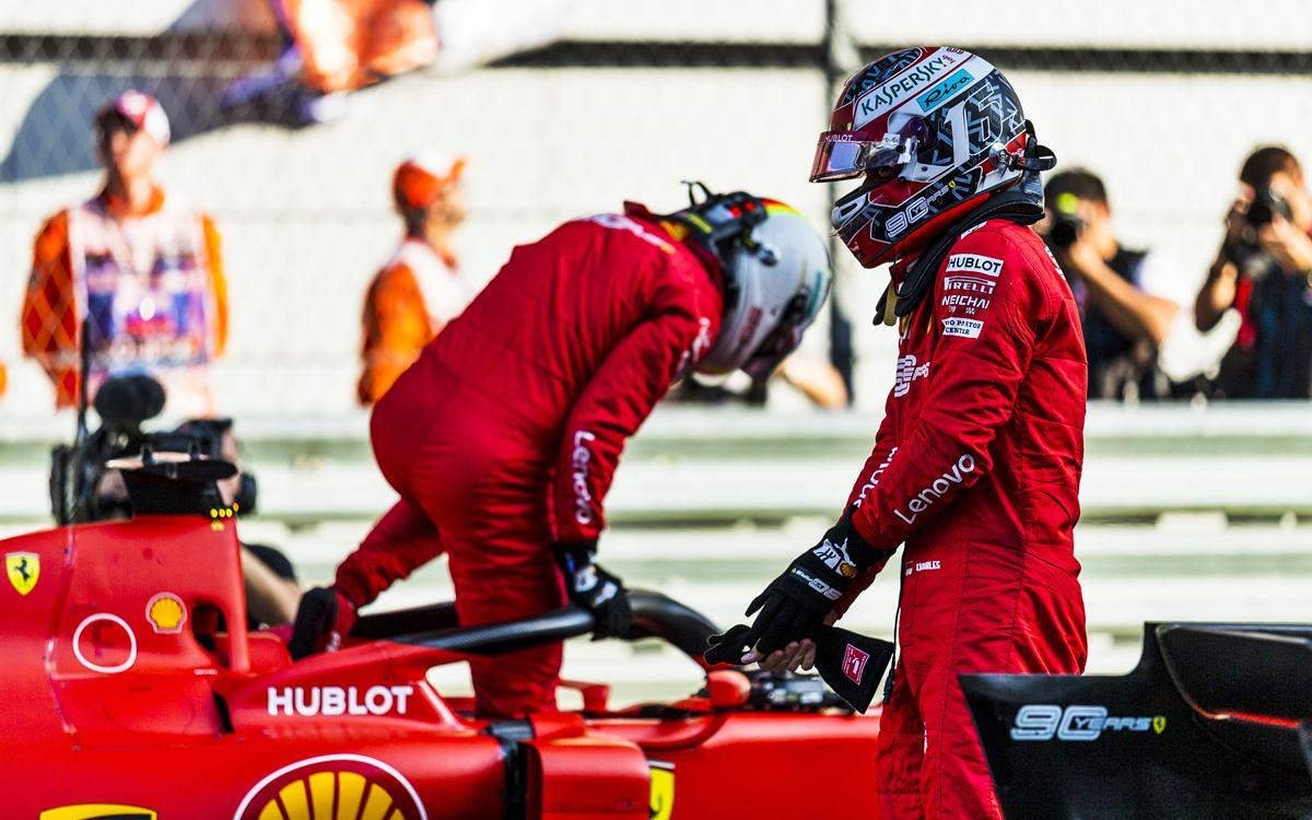 Italia sufre con la pelea entre Vettel y Leclerc