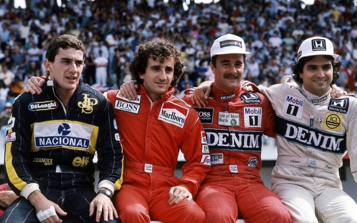 Ayrton Senna, Alain Prost, Nigel Mansell y Nelson Piquet