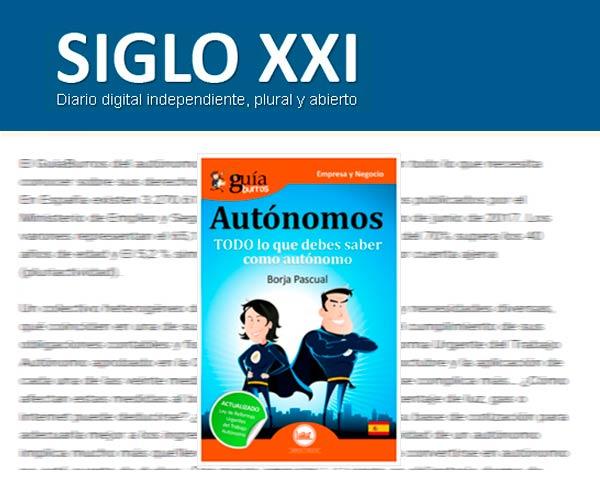 El DiarioSigloXXI.com habla sobre el GuíaBurros para autónomos