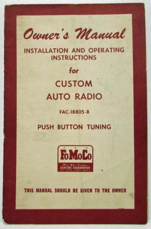 19601969 Ford Motor Company FoMoCo Custom Auto Radio Owner's Manual