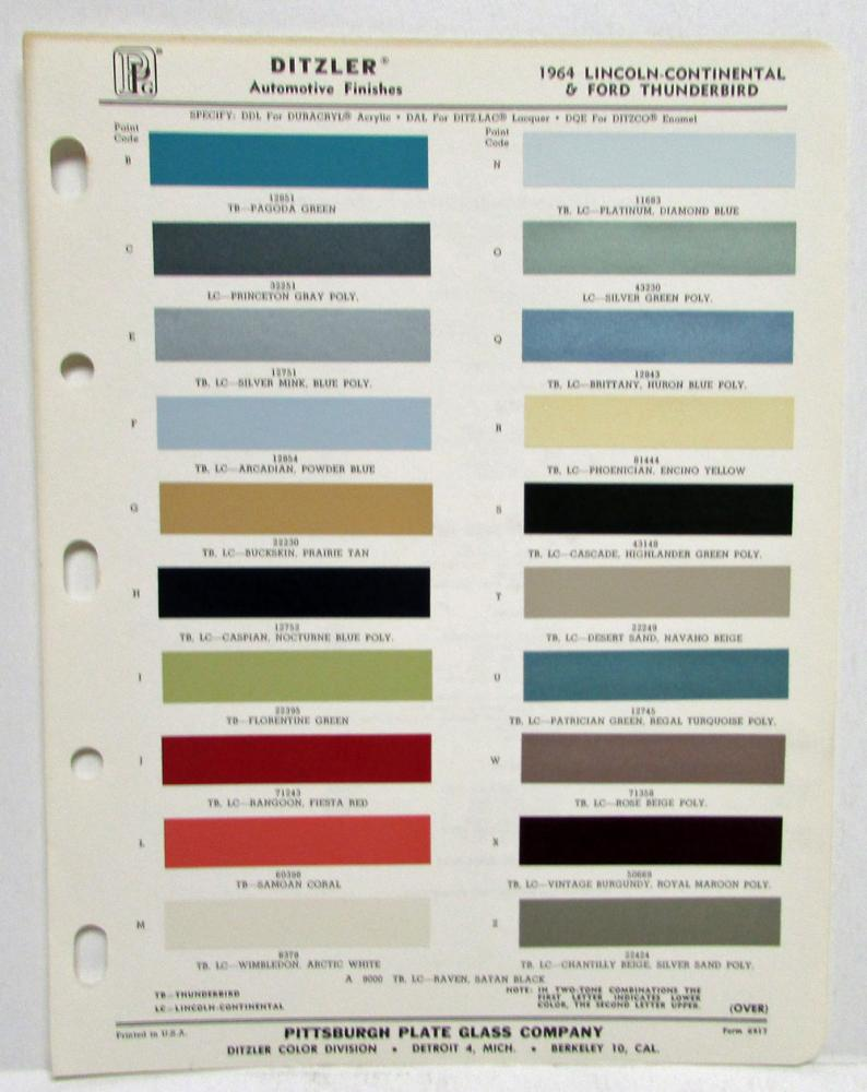 1940 Ford Paint Colors Chart 1964 Chevy Truck