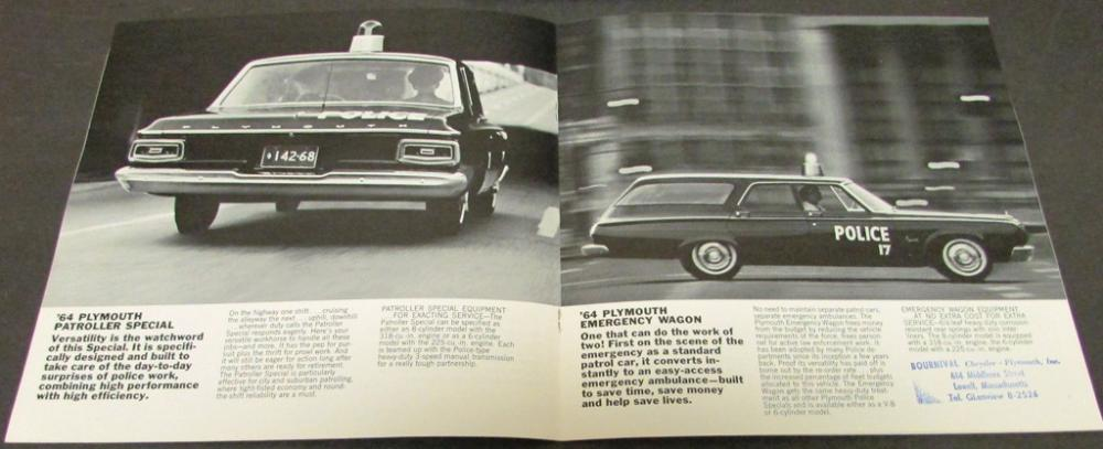 1964 Plymouth Dealer Sales Brochure Police Cars Sedan Wagon Police     1964 Plymouth Dealer Sales Brochure Police Cars Sedan Wagon Police Specials  Rare