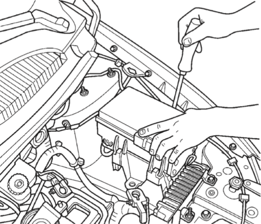 The fuel pump relay is located in the engine bay inside the Power Distribution System