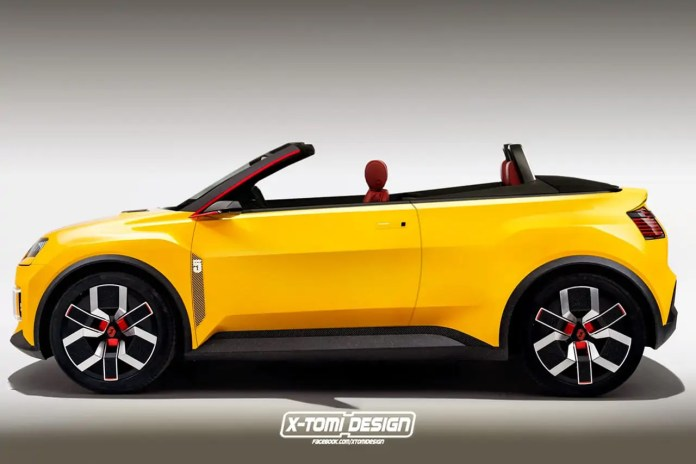 Nuova Renault 5 2022, il Rendering della Versione Cabrio