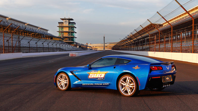 3/4 rear shot of the Corvette Stingray Indy 500 pace car