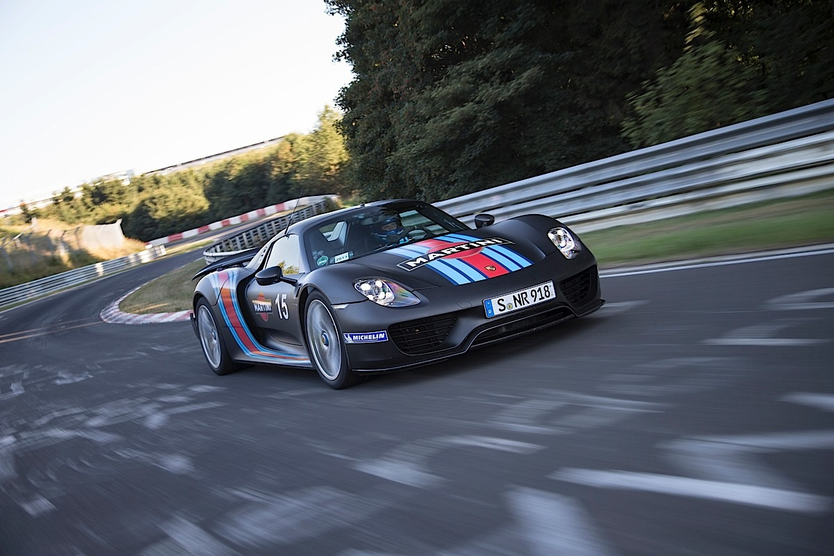 The Porsche 918 Spyder on a lap of the Nürburgring.