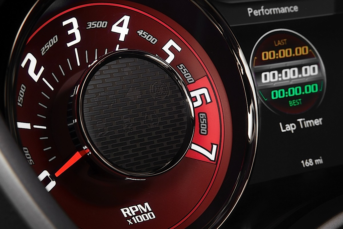 "2015 Dodge Challenger SRT Hellcat tachometer gauge, which provides a heritage-inspired look, reminiscent of the 'tic-toc-tach"" gauges from the 1971 Challenger and are finished in a Dark Radar Red tone."