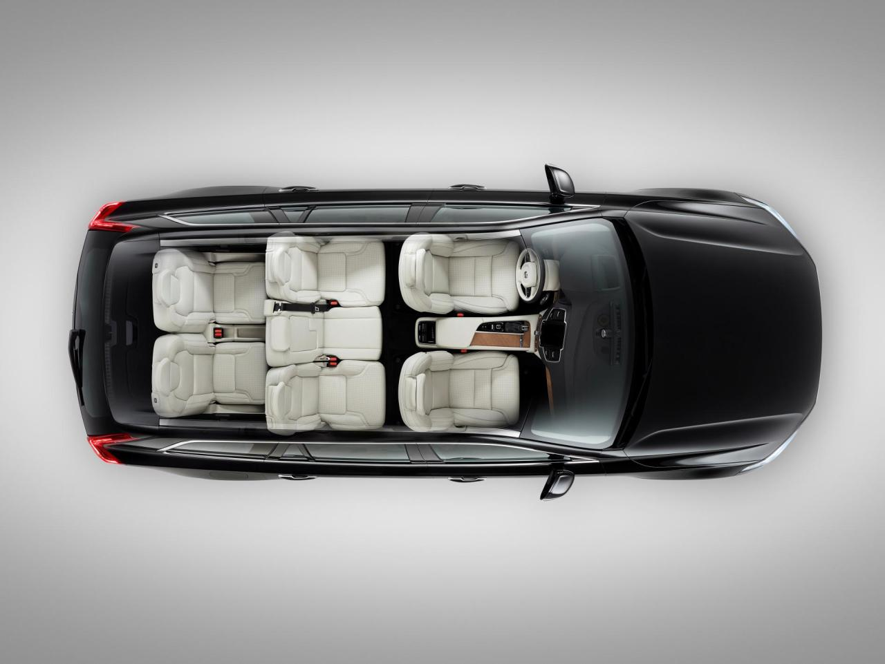 The Volvo XC90 features a flexible seven seat layout.
