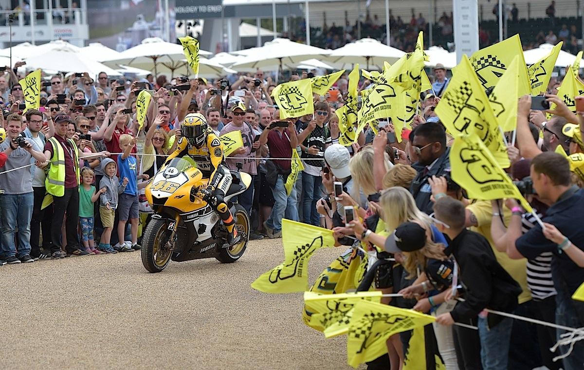 CHICHESTER, ENGLAND - JUNE 28:  Valentino Rossi enters Goodwood House grounds during the Festival of Speed on June 28, 2015 in Chichester, England.  (Photo by Charles McQuillan/Getty Images for Yamaha Motor Co., LTD)