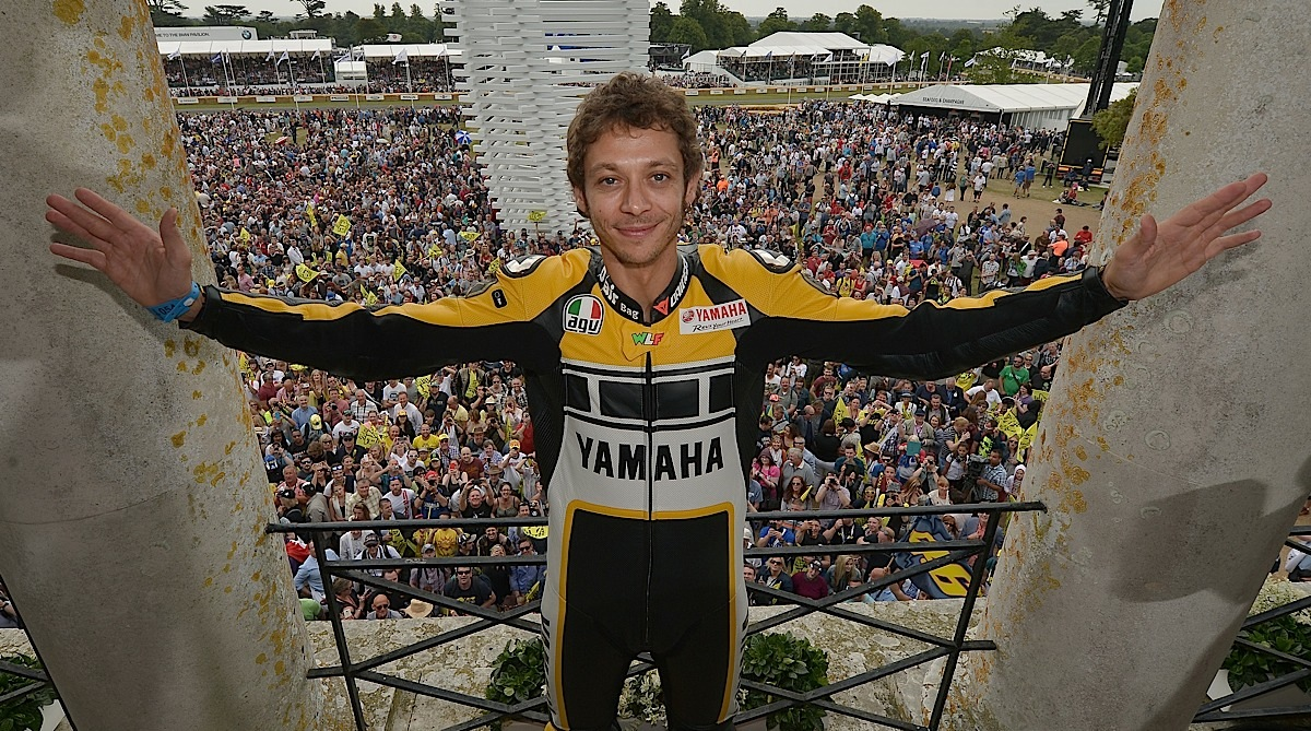 CHICHESTER, ENGLAND - JUNE 28:  Valentino Rossi poses for photographs during the Festival of Speed on June 28, 2015 in Chichester, England.  (Photo by Charles McQuillan/Getty Images for Yamaha Motor Co., LTD)
