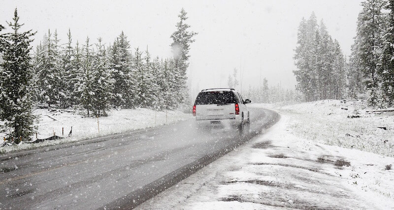 Winter tires in use