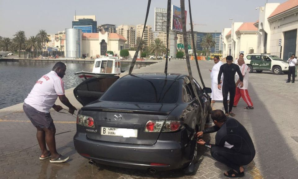 A Mazda Vehicle Ended up in the Waters of Dubai Creek