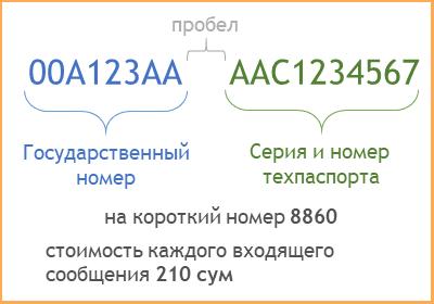 Проверка штрафа через SMS в Узбекистане