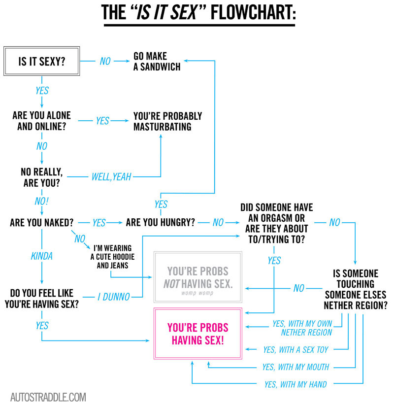 this is a flowchart about how to tell if you've had lesbian sex. just a reminder.