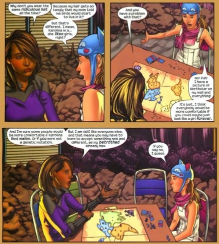 Xavin and Molly having a discussion about gender in Runaways #22 with art by Adrian Alphona.