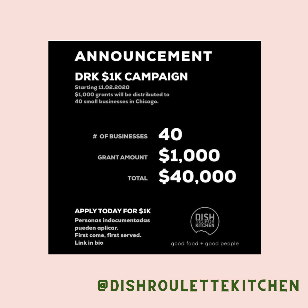We will be investing $1,000 into 40 business owners operating as a restaurant or food vendor.SHARE, APPLY, DONATE - @dishroulettekitchen First come, first served. Personas indocumentadas pueden aplicar.