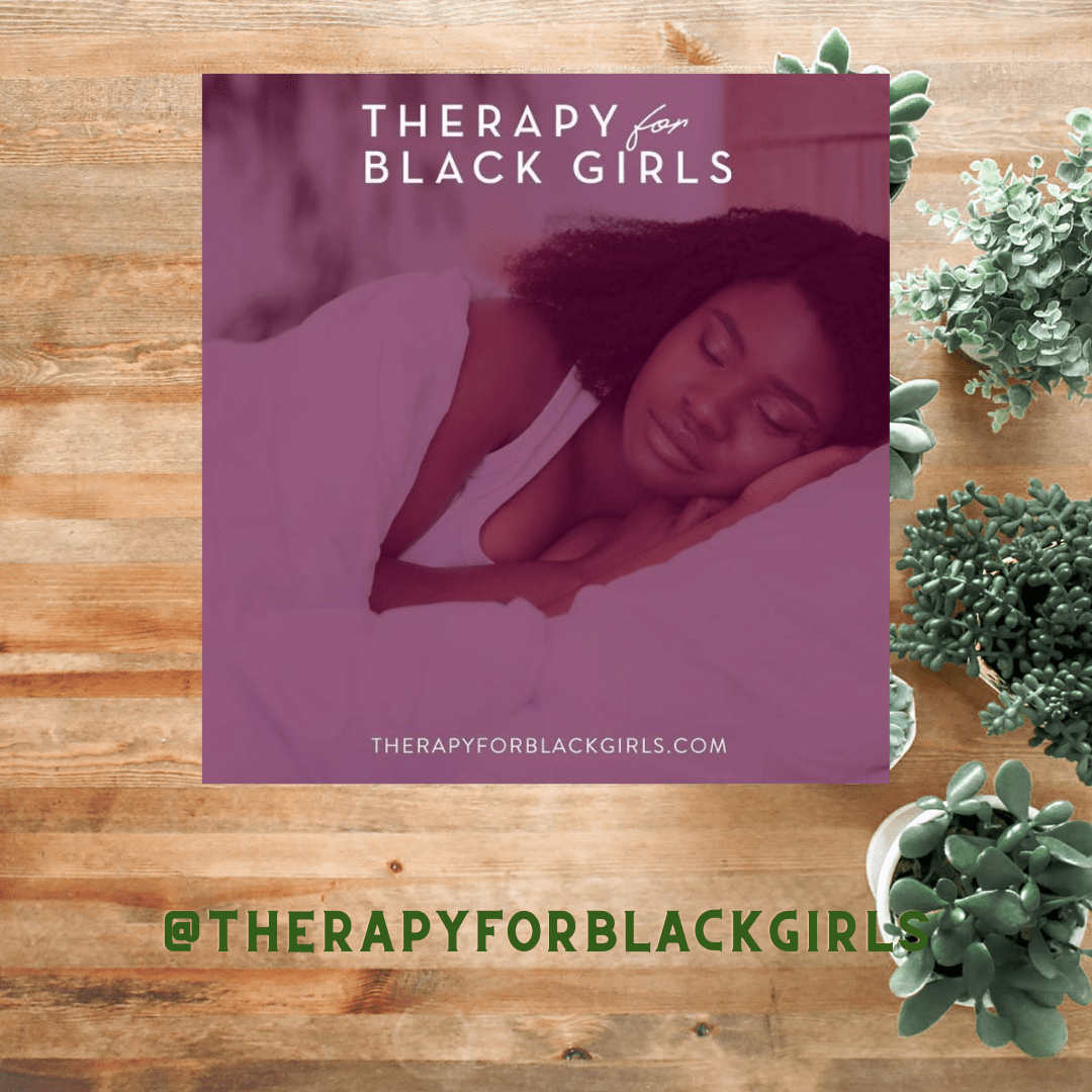 Image shows a black woman resting on a pillow with the words Therapy for black girls on the top.