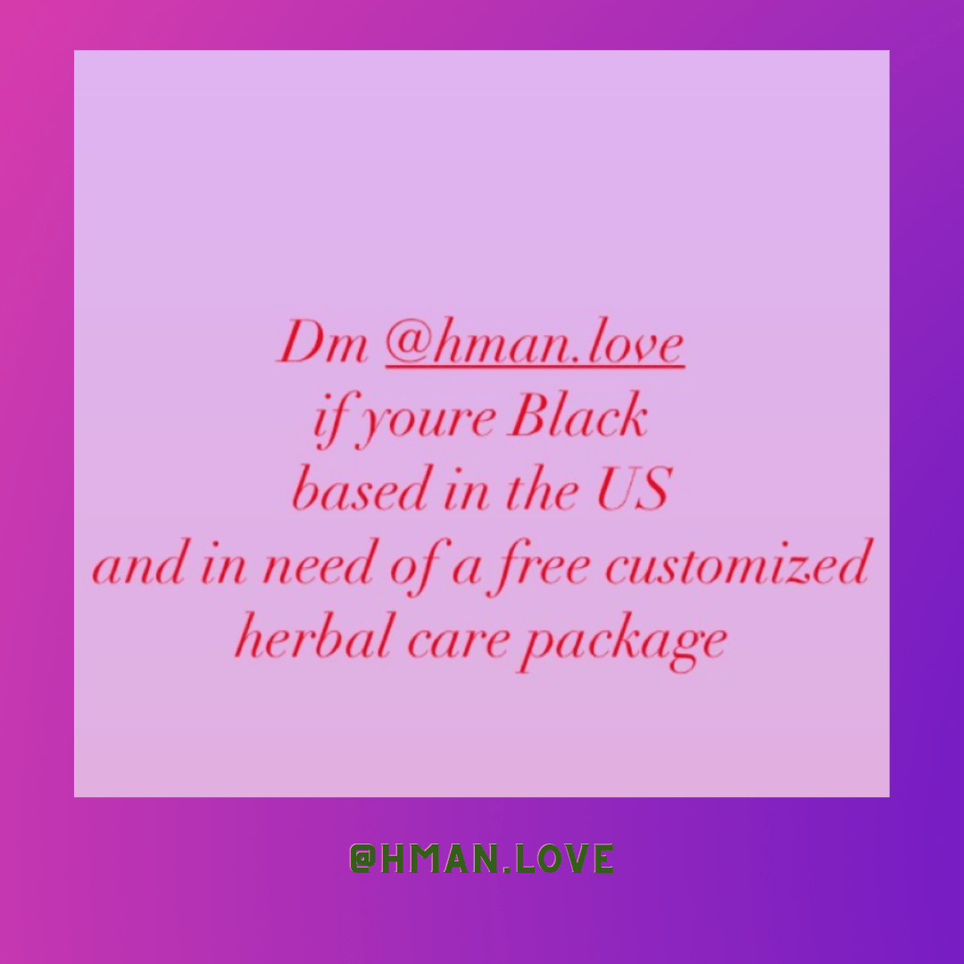 Image shows text that lets folks know to send a message to @hman.love for a care package