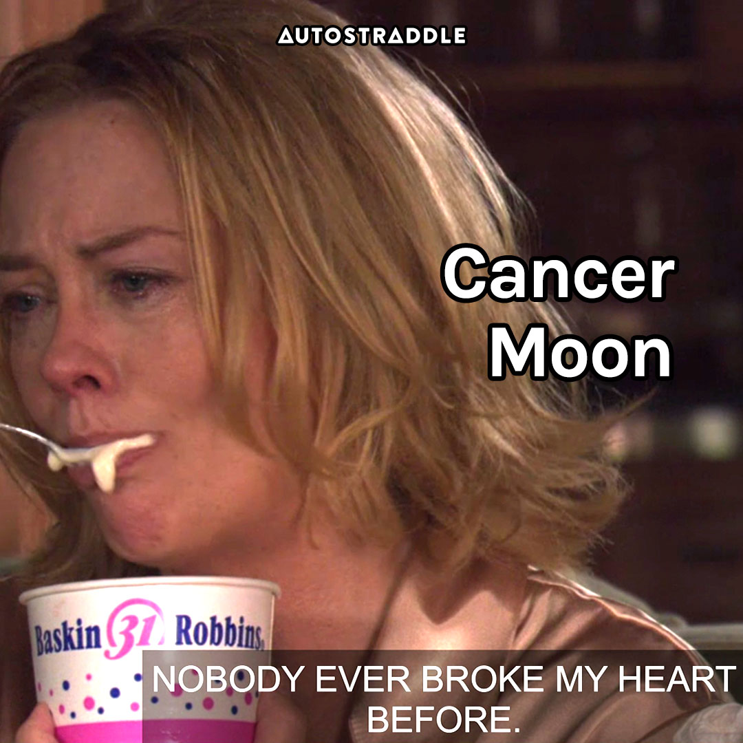 """Cancer Moon: Phyllis eating ice-cream, crying """"Nobody ever broke my heart before."""""""