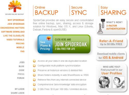 spideroak 16 alternatives à DropBox