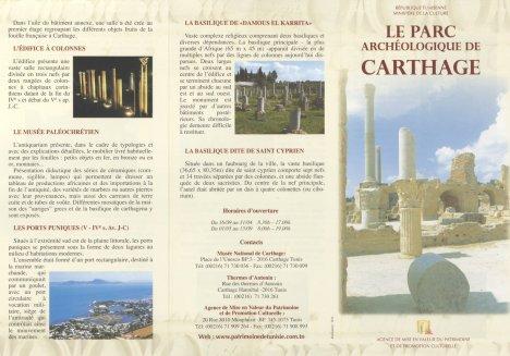 Dépliant du Parc Archéologique de Carthage page 1/2