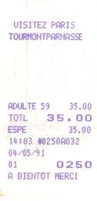 Ticket de visite de la tour Montparnasse (4 mai 1991)