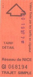 Ticket de bus de Nice (1991)